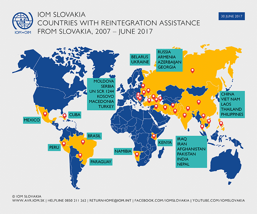 Map - Countries with reintegration assistance from IOM Slovakia, 2007 - June 2017
