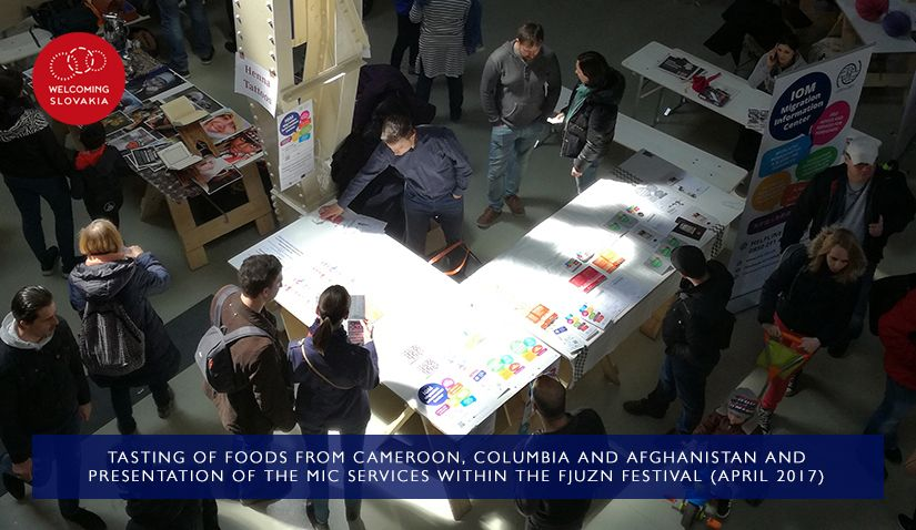MIC IOM - Welcoming Slovakia - Tasting of foods from Cameroon, Columbia and Afghanistan within the Fjuzn festival (April 2017)