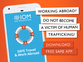 IOM - Banner mobile application SAFE Travel & Work Abroad